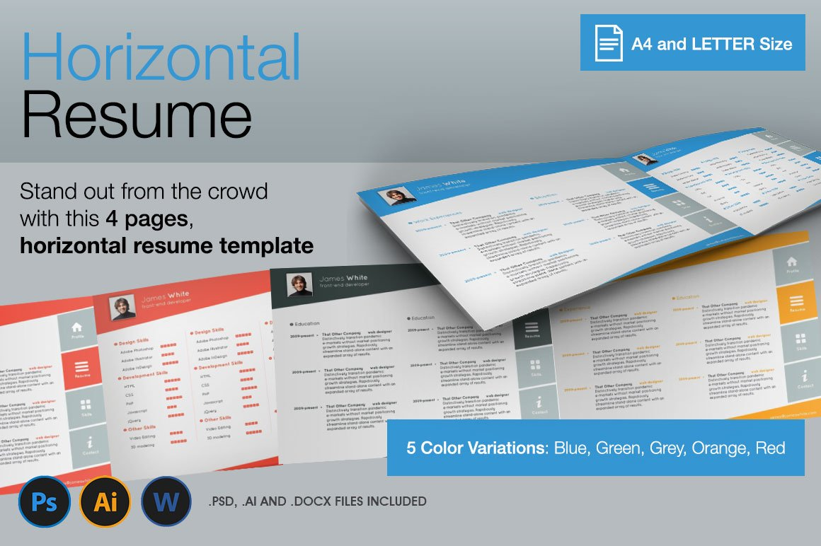 Horizontal, 4 Pages Resume ~ Resume Templates ~ Creative Market