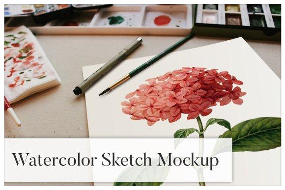 Free Watercolor Sketch Mockup