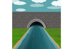 tunnel with river illustration