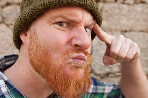 Red haired guy doing silly face