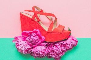 heels in coral color
