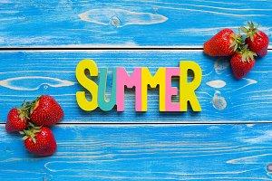 strawberry on wood background,summer