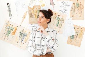 Serious thinking woman fashion illustrator