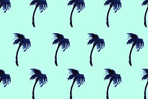 Watercolor palms on mint, pattern