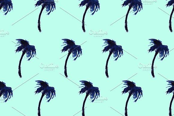 Watercolor Palms On Mint Pattern