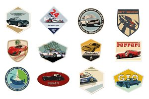 12 Vintage Automotive Badges