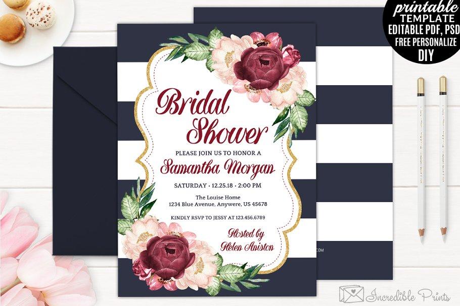 de94955db33 Navy Gold and Marsala Bridal Shower ~ Invitation Templates ...