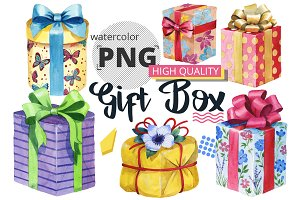 Gift boxes watercolor PNG set