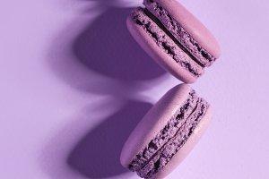 Four sweet purple macaroons