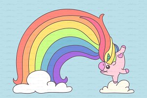 ♥ vector playful unicorn