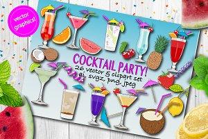 Cocktails vector & clipart set