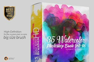 35 Hi-Res Water color PS Brush Set 6