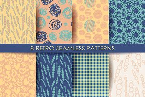 Retro different seamless patterns.