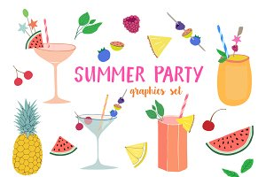Summer Party clipart set