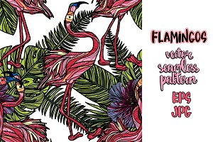 Flamingos tropical pattern
