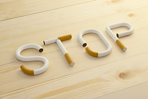 Text stop made of cigarettes