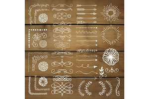 Vector Hand Drawn Design Elements on Wooden Texture