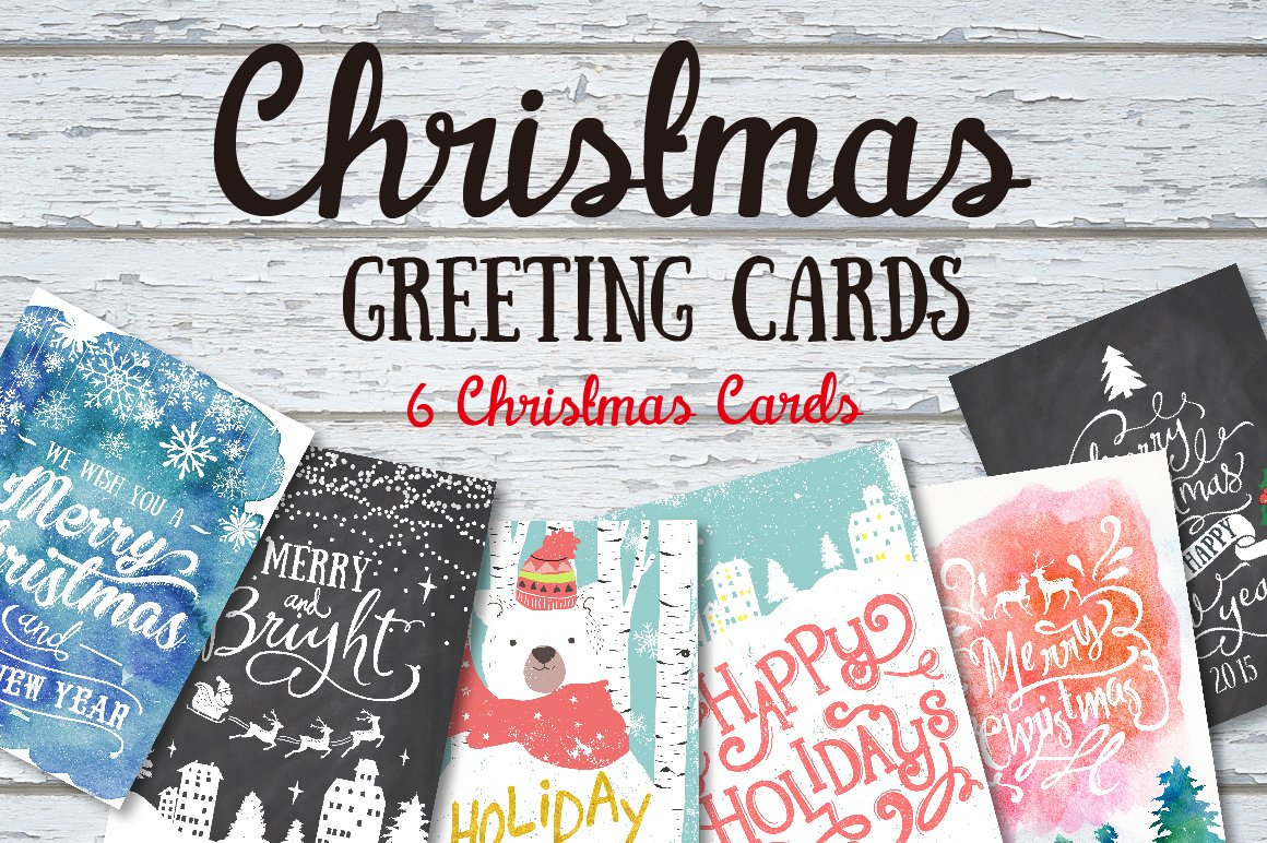 6 Christmas greeting cards set ~ Illustrations ~ Creative Market