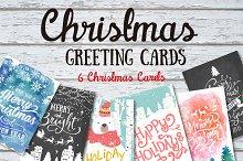 6 Christmas greeting cards set