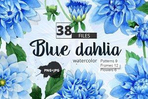 Blue dahlia watercolor PNG clipart