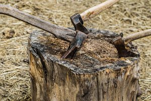 old axe stuck in a stump, on  background of straw