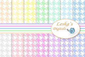 Pastel Houndstooth Digital Paper