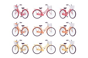 Set of female bicycles with basket in red, orange, yellow colors