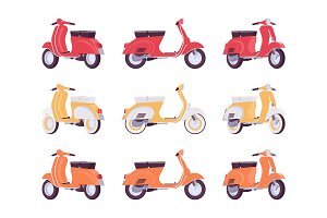 Set of scooters in red, yellow, orange colors