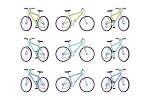 Set of sport bicycles in green, turquoise, blue colors