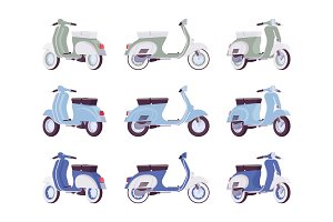 Set of scooters in green, turquoise, blue colors