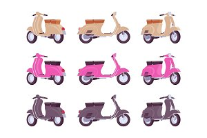 Set of scooters in beige, pink, black colors