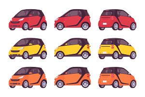 Set of mini electric car in red, yellow, orange colors