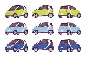 Set of mini electric car in green, blue, navy color