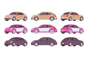Set of economy car in beige, pink, black color