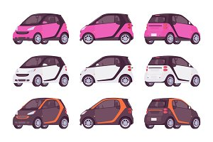 Set of mini electric car in pink, white, black color