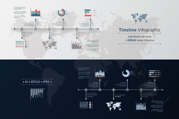TIMELINE INFOGRAPIC SET Dark Light
