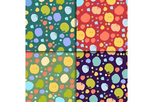 Seamless colorful pattern set with circles