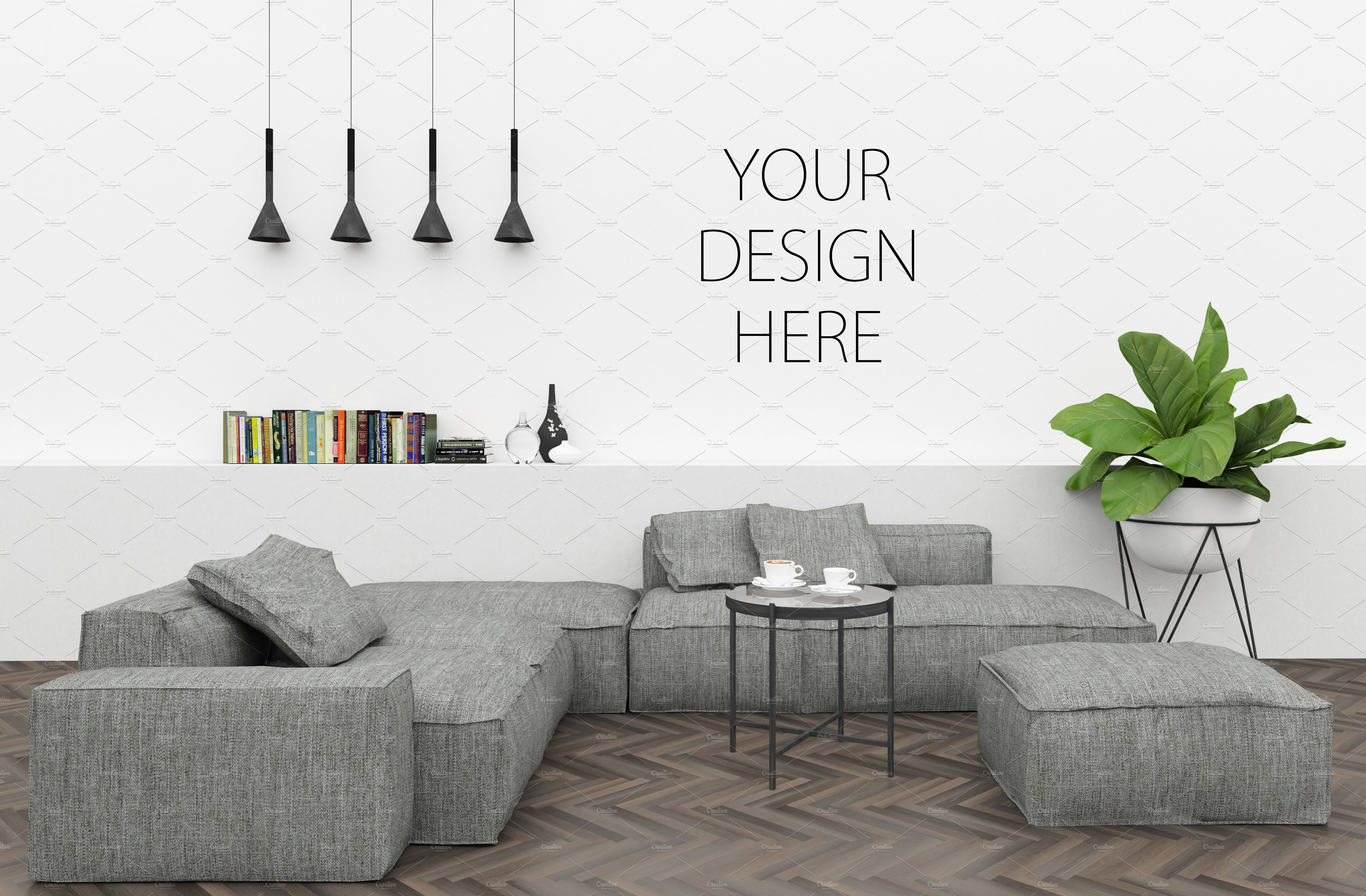 Blank wall mockup interior mockup product mockups - Interiors by design picture frames ...