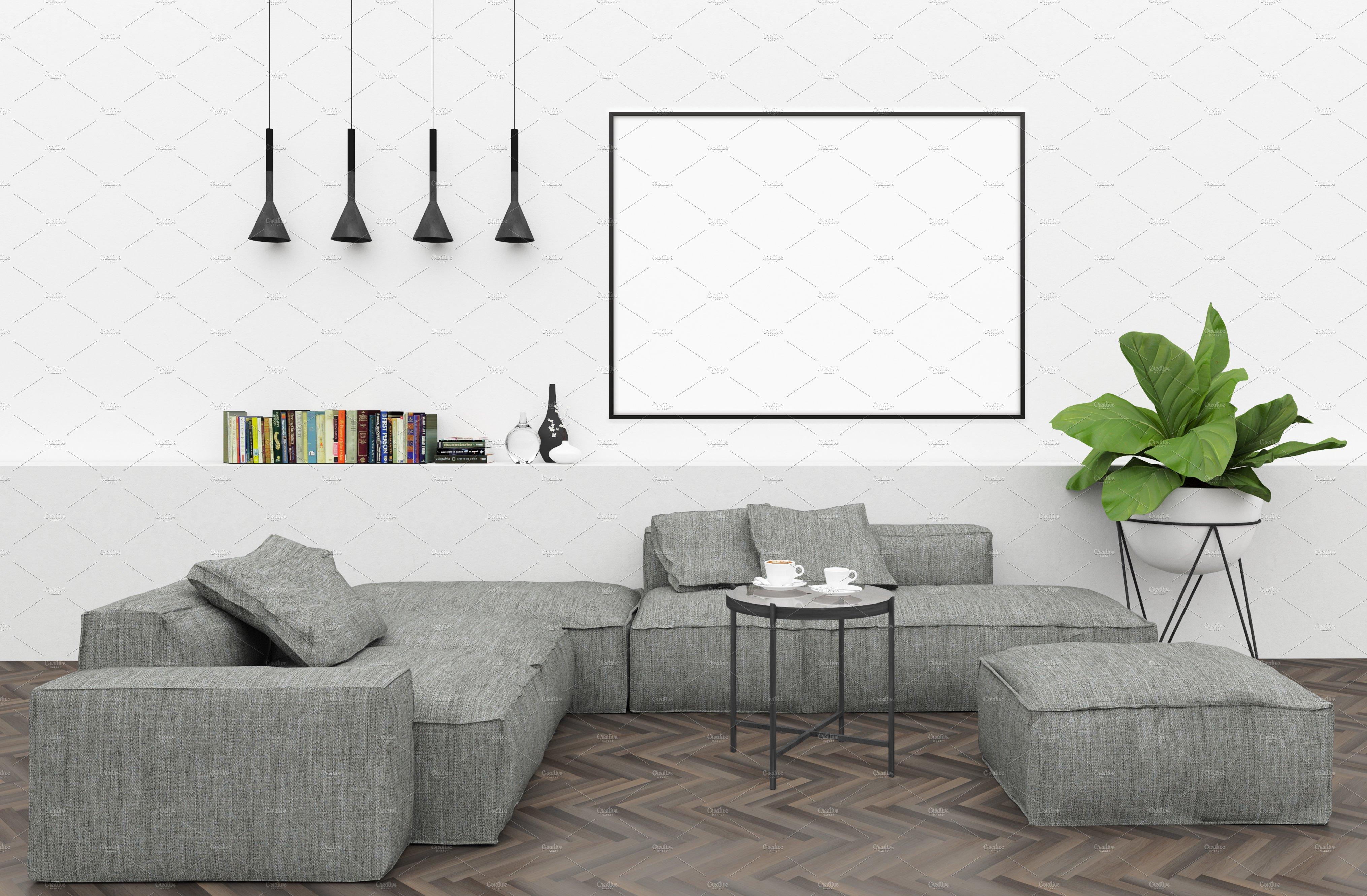 Blank wall mockup interior mockup product mockups for Four blank walls