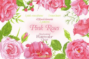 watercolor Pink Roses clipart