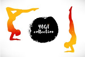 Vector set with girls in yoga poses