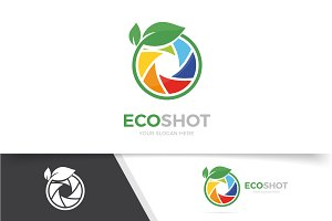 Vector of a camera shutter and leaf logo combination. Photography and eco symbol or icon. Unique photo and natural, organic logotype design template.