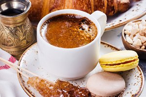 Coffee, croissants and macaroons