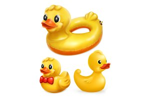 Rubber ducks, vector icon set