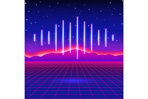 Retro gaming neon background with shiny music wave