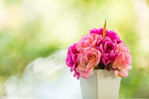 bouquet pink rose flower