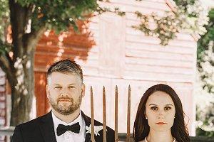Brunette bride and groom