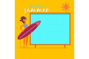 Summer holidays beach background poster.Summertime traveling template Flat vector illustration