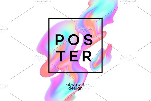 Poster Design With Colored Fluid Vector Illustration