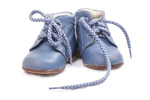 Old blue baby shoes